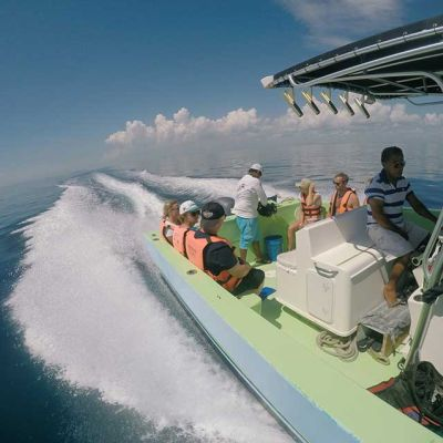 Whale Shark tour boat with people and guides